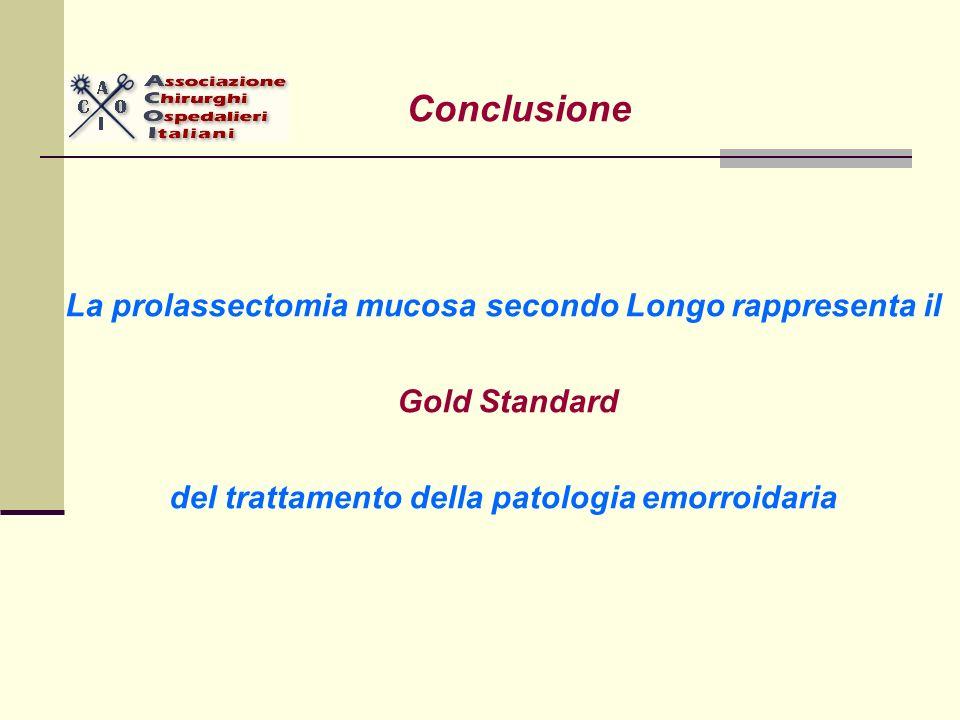 Conclusione La prolassectomia mucosa secondo Longo rappresenta il