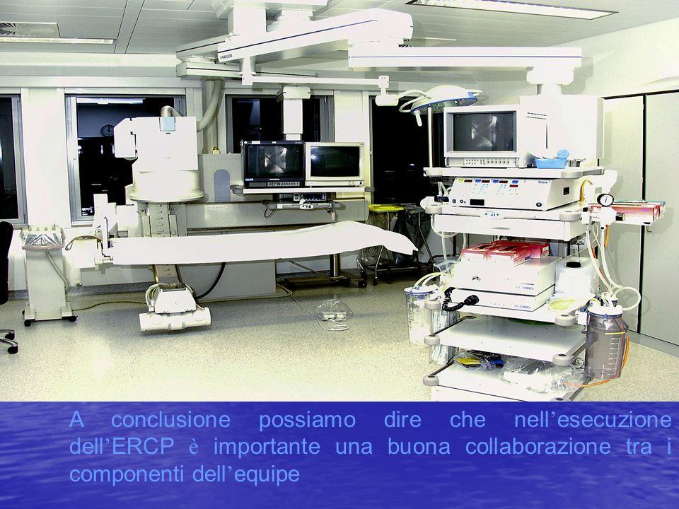 A conclusione possiamo dire che nell'esecuzione dell'ERCP è importante una buona collaborazione tra i componenti dell'equipe
