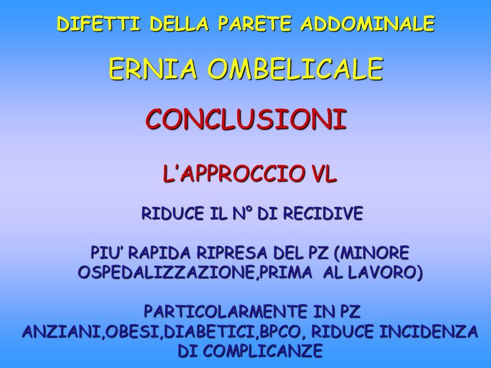 DIFETTI DELLA PARETE ADDOMINALE ERNIA OMBELICALE CONCLUSIONI