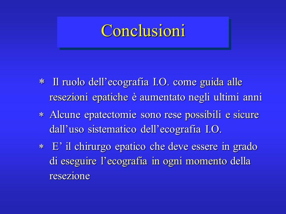 Conclusioni Il ruolo dell'ecografia I.O. come guida alle resezioni epatiche è aumentato negli ultimi anni.