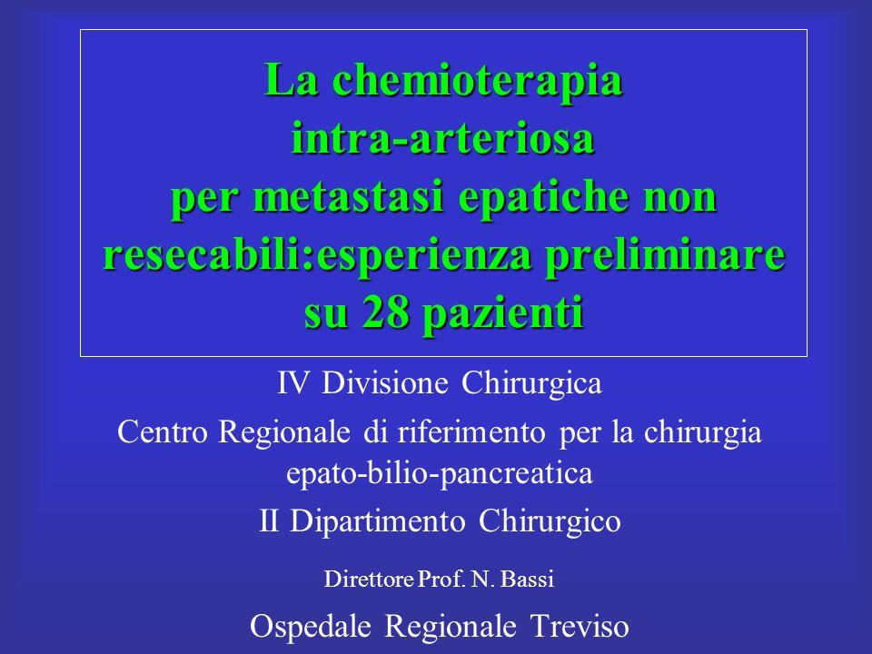 La chemioterapia intra-arteriosa per metastasi epatiche non resecabili:esperienza preliminare su 28 pazienti