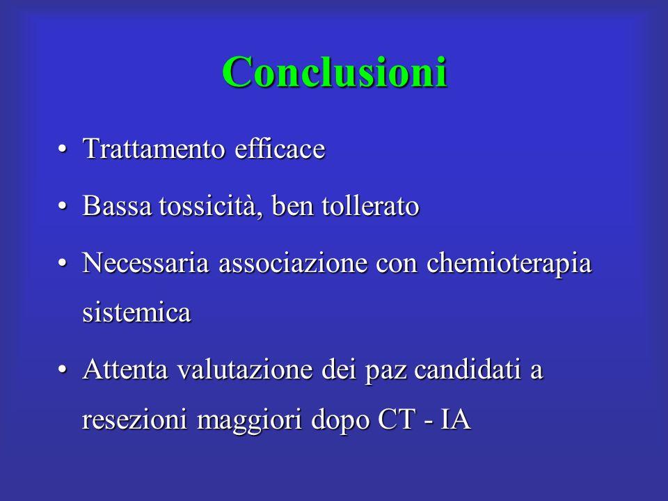 Conclusioni Trattamento efficace Bassa tossicità, ben tollerato