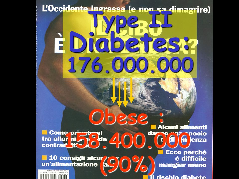 Type II Diabetes: 176.000.000 Obese : 158.400.000 (90%)