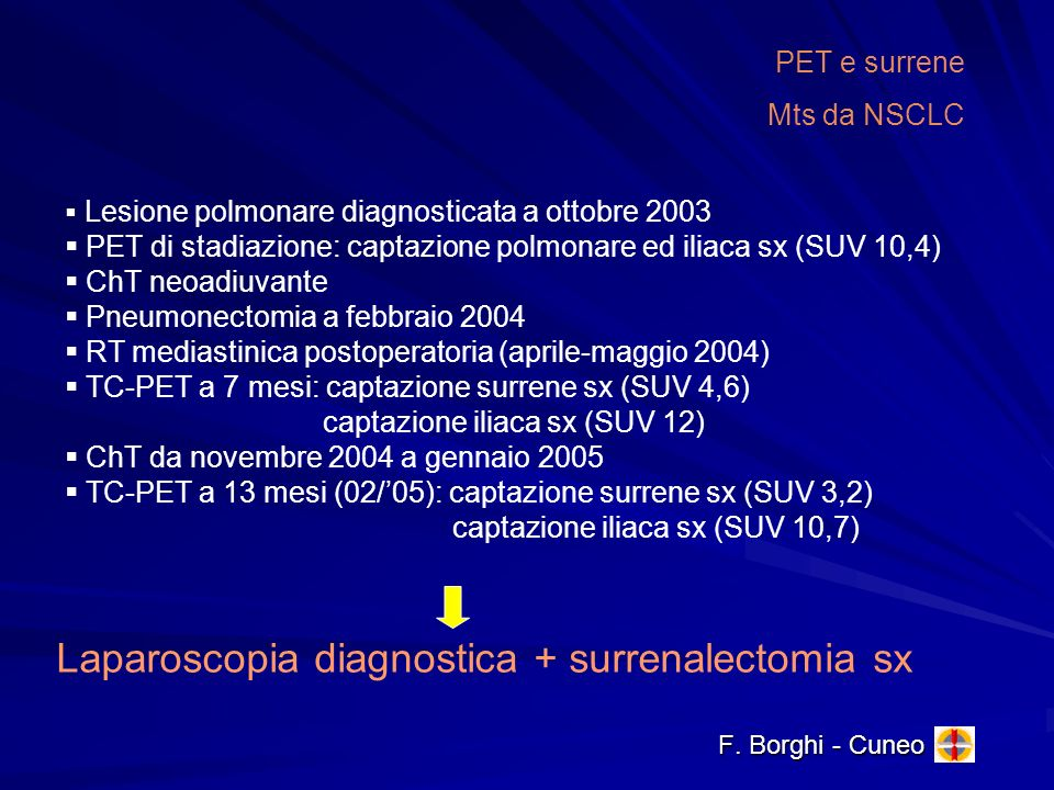Laparoscopia diagnostica + surrenalectomia sx