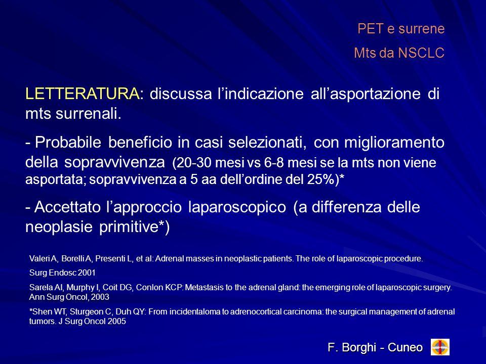 LETTERATURA: discussa l'indicazione all'asportazione di mts surrenali.