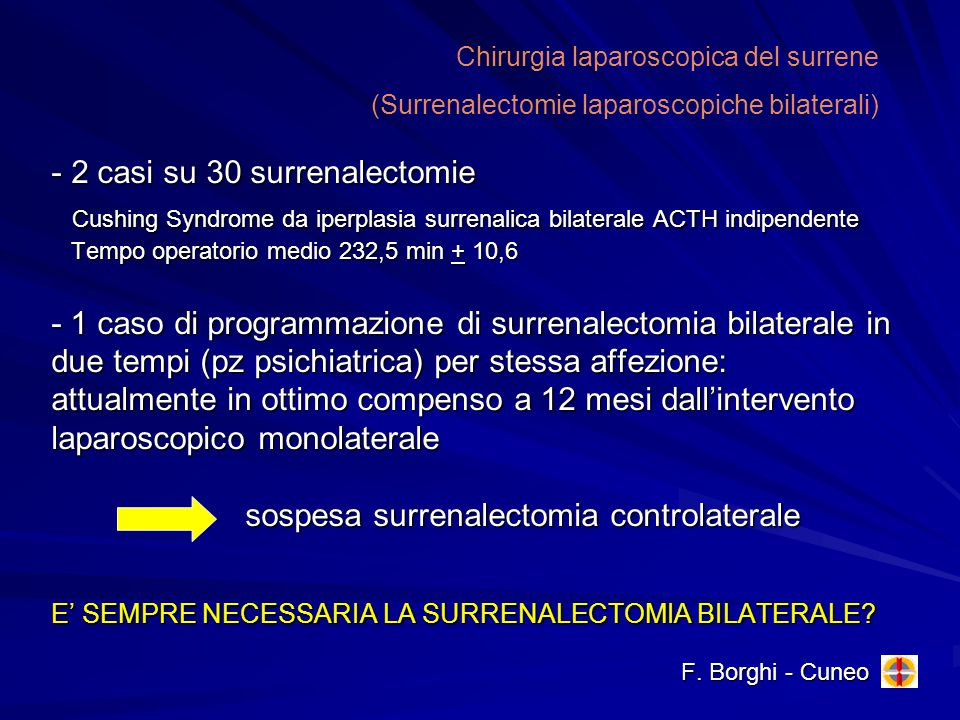 Chirurgia laparoscopica del surrene