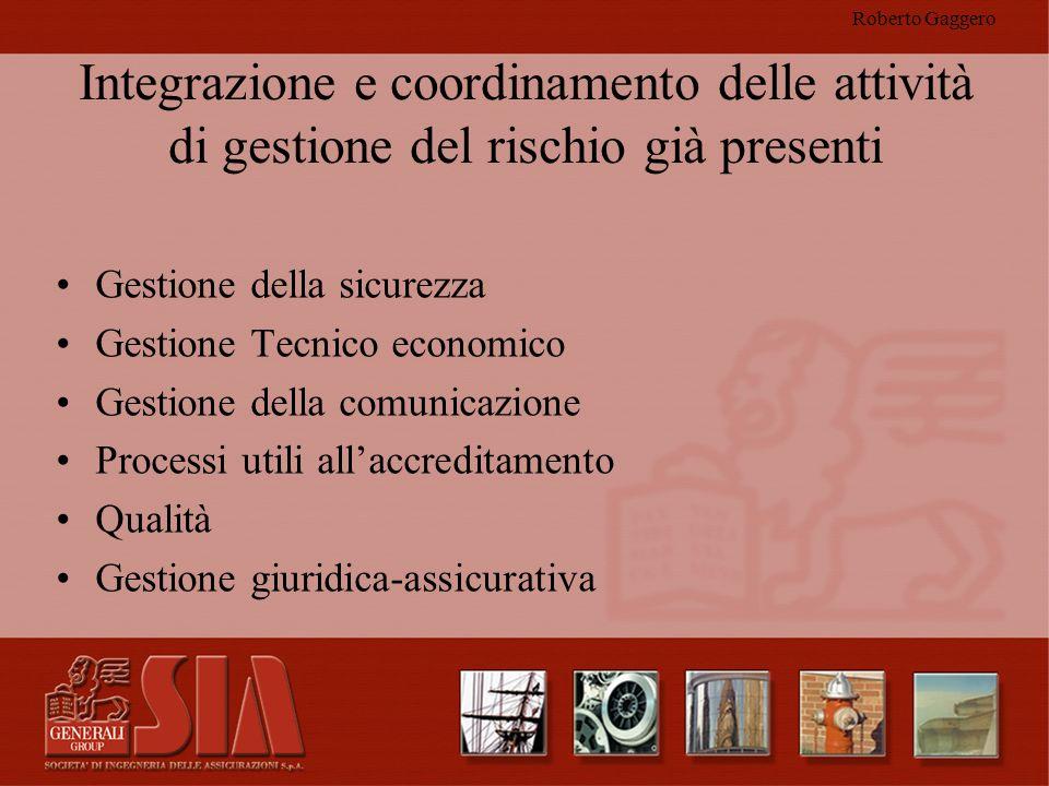 Roberto Gaggero Integrazione e coordinamento delle attività di gestione del rischio già presenti. Gestione della sicurezza.