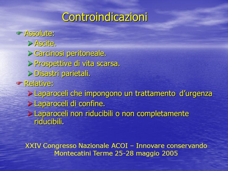 Controindicazioni Assolute: Ascite. Carcinosi peritoneale.