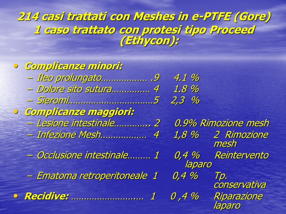 214 casi trattati con Meshes in e-PTFE (Gore)