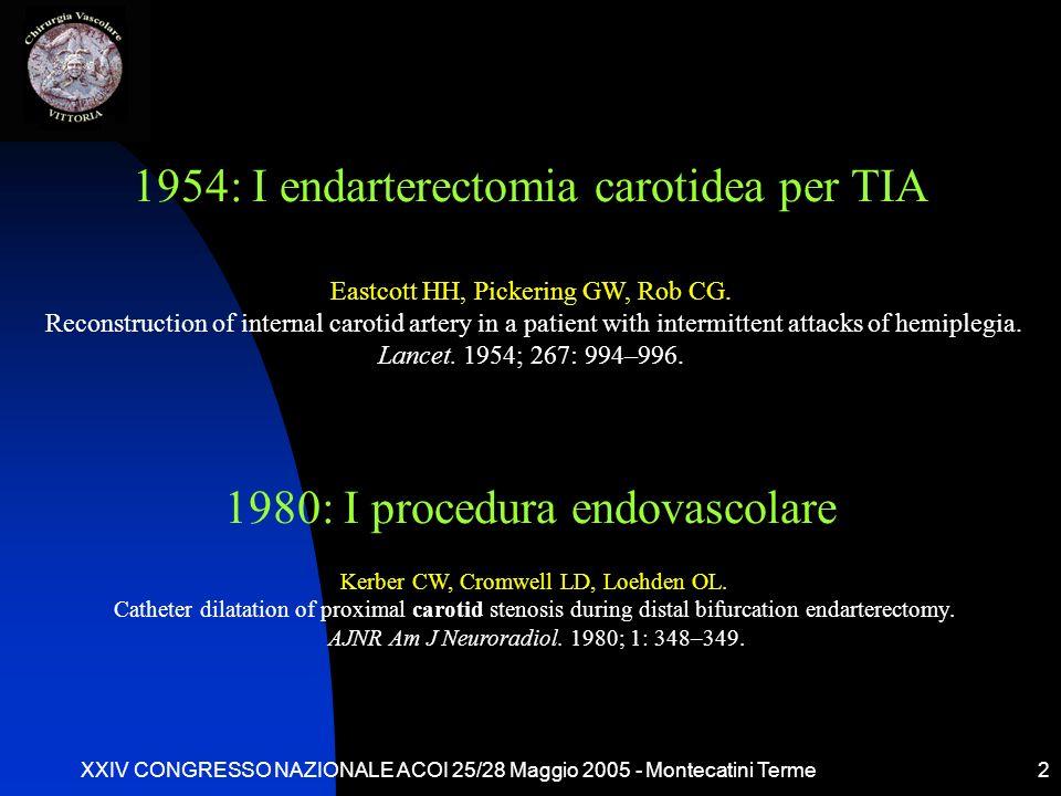 1954: I endarterectomia carotidea per TIA