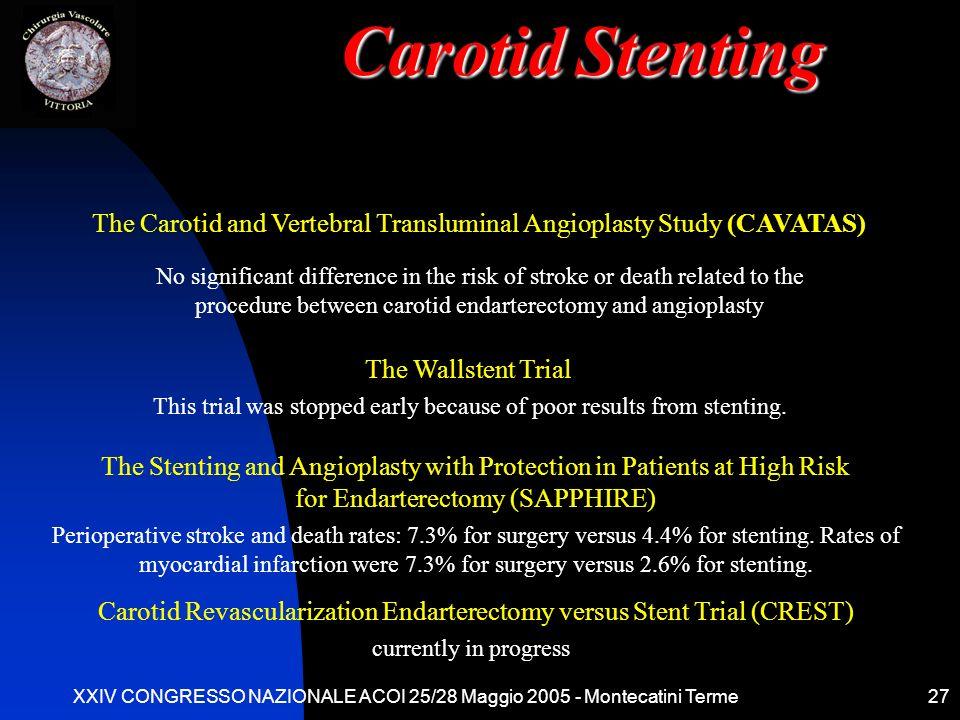 Carotid Stenting The Carotid and Vertebral Transluminal Angioplasty Study (CAVATAS)