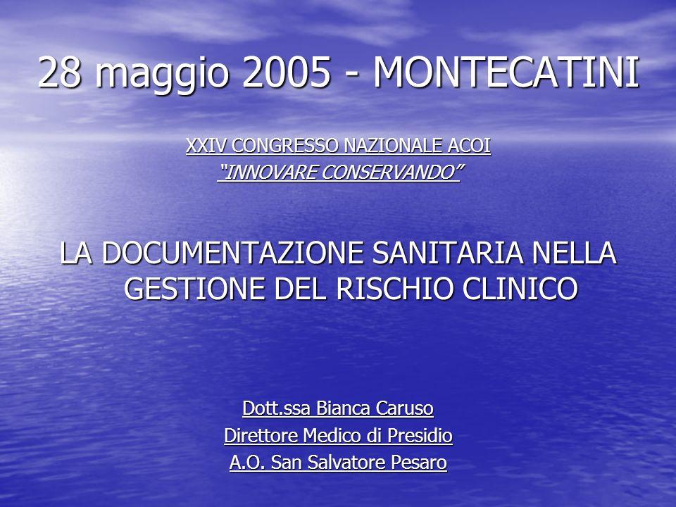 28 maggio 2005 - MONTECATINI XXIV CONGRESSO NAZIONALE ACOI. INNOVARE CONSERVANDO LA DOCUMENTAZIONE SANITARIA NELLA GESTIONE DEL RISCHIO CLINICO.