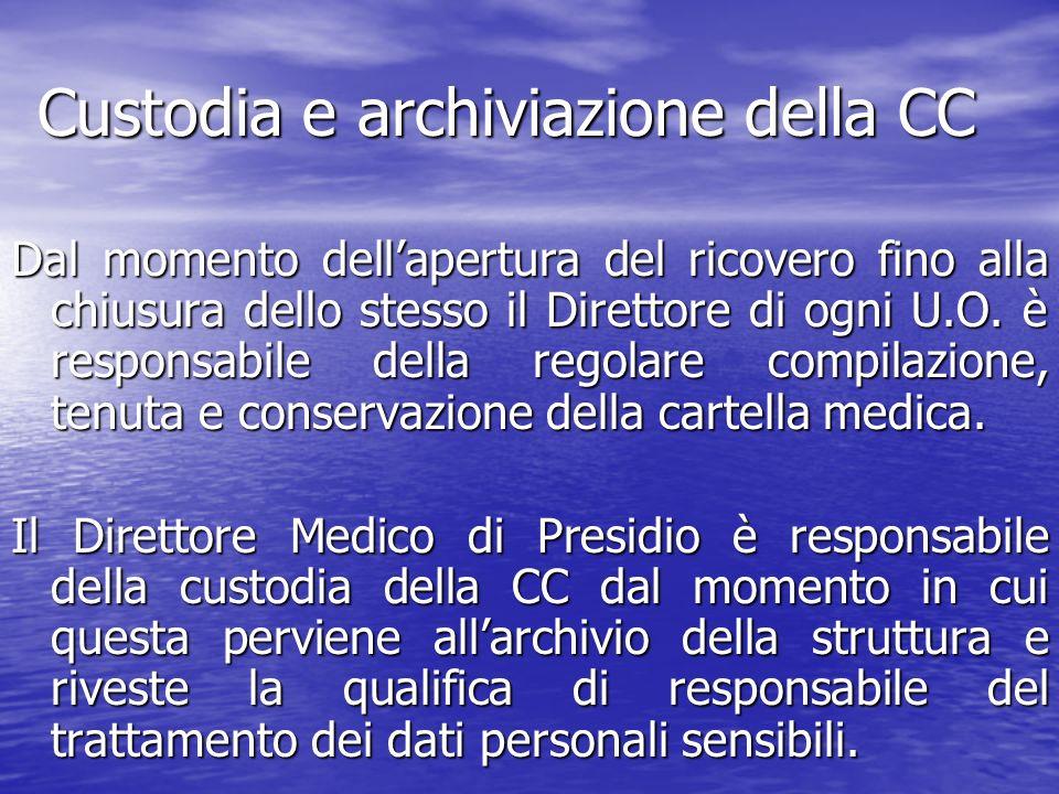 Custodia e archiviazione della CC