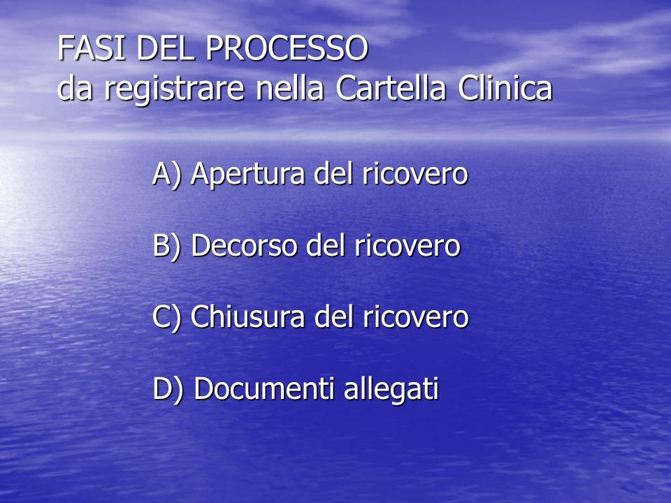 FASI DEL PROCESSO da registrare nella Cartella Clinica