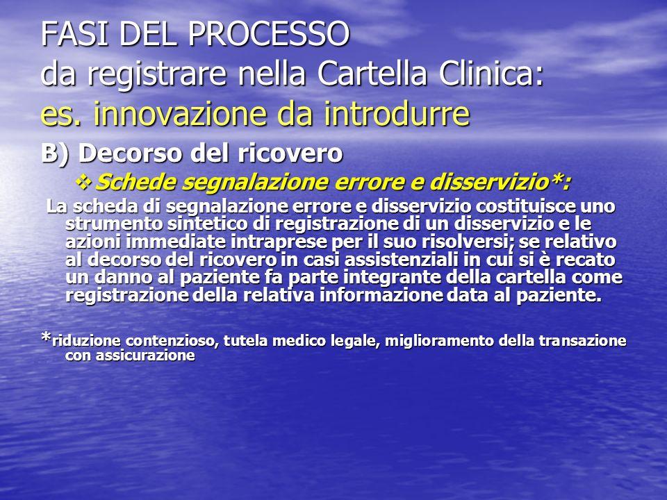 FASI DEL PROCESSO da registrare nella Cartella Clinica: es