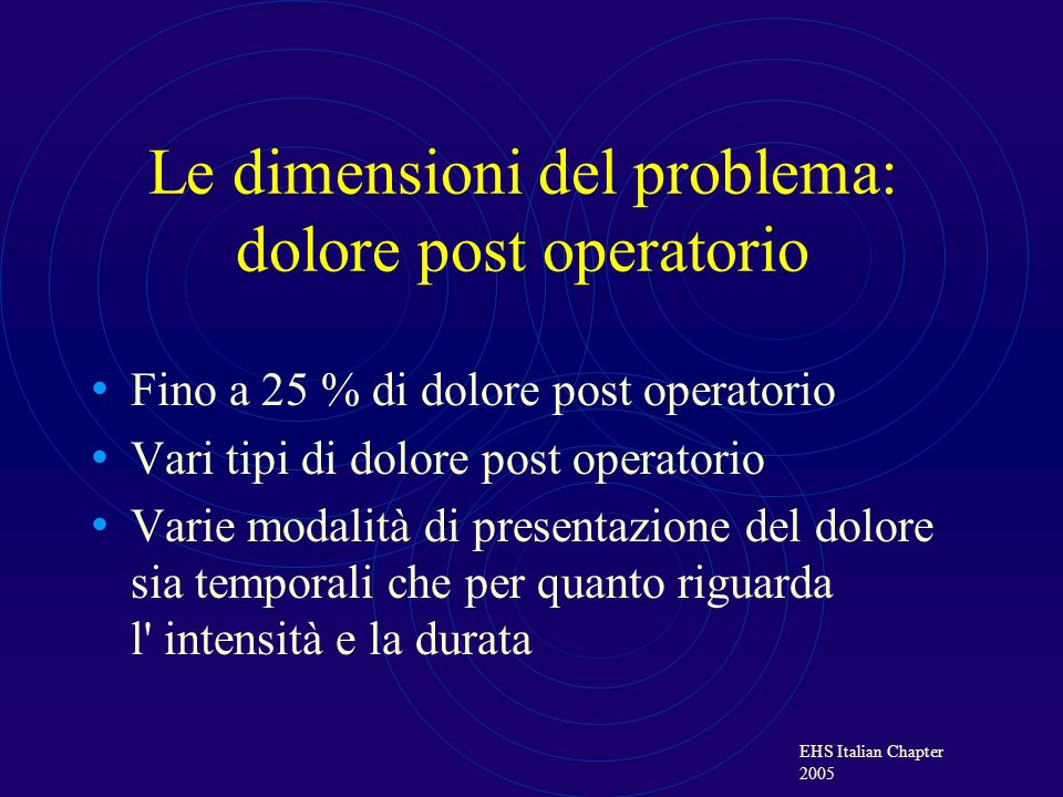 Le dimensioni del problema: dolore post operatorio