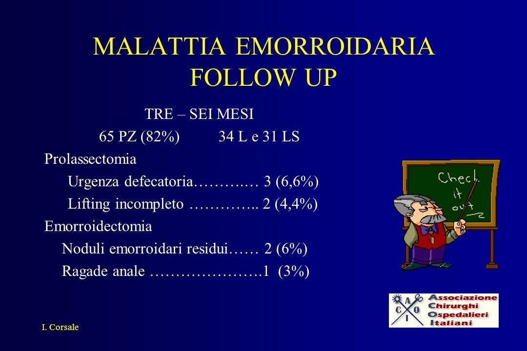 MALATTIA EMORROIDARIA FOLLOW UP