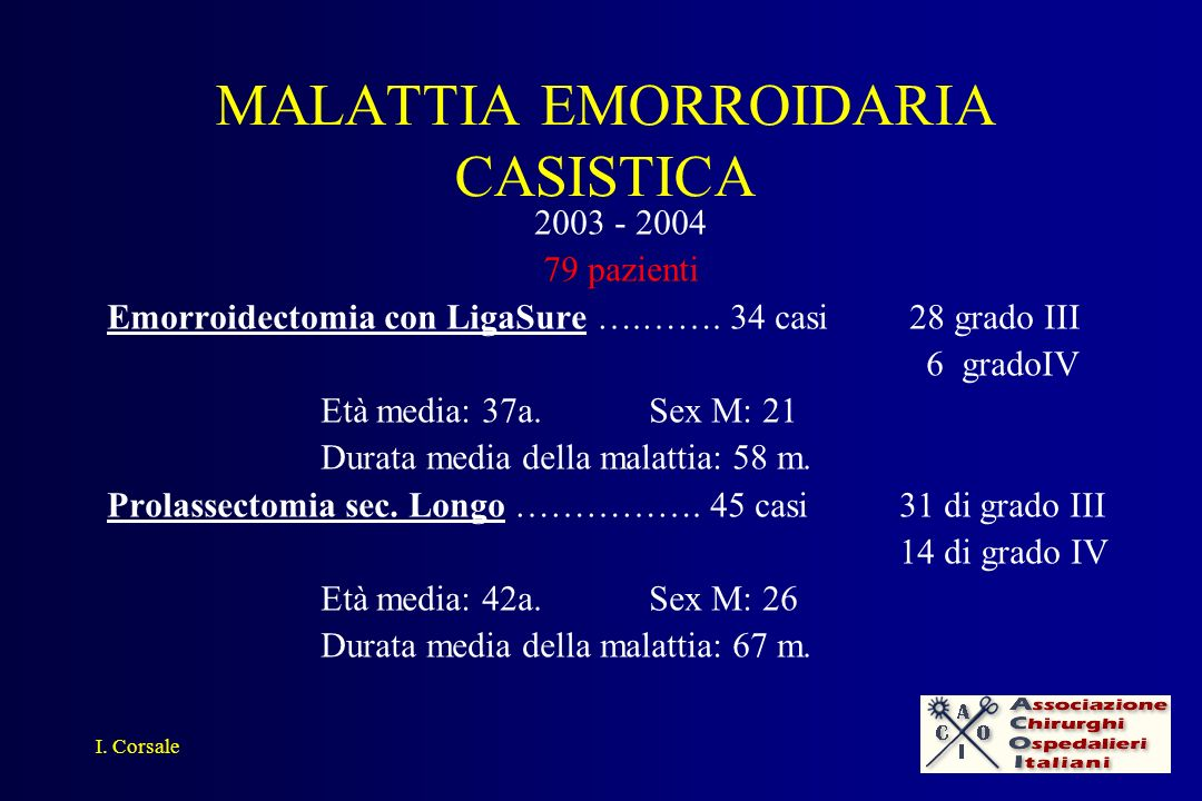 MALATTIA EMORROIDARIA CASISTICA