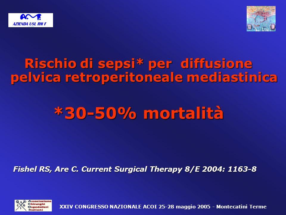 Rischio di sepsi* per diffusione pelvica retroperitoneale mediastinica