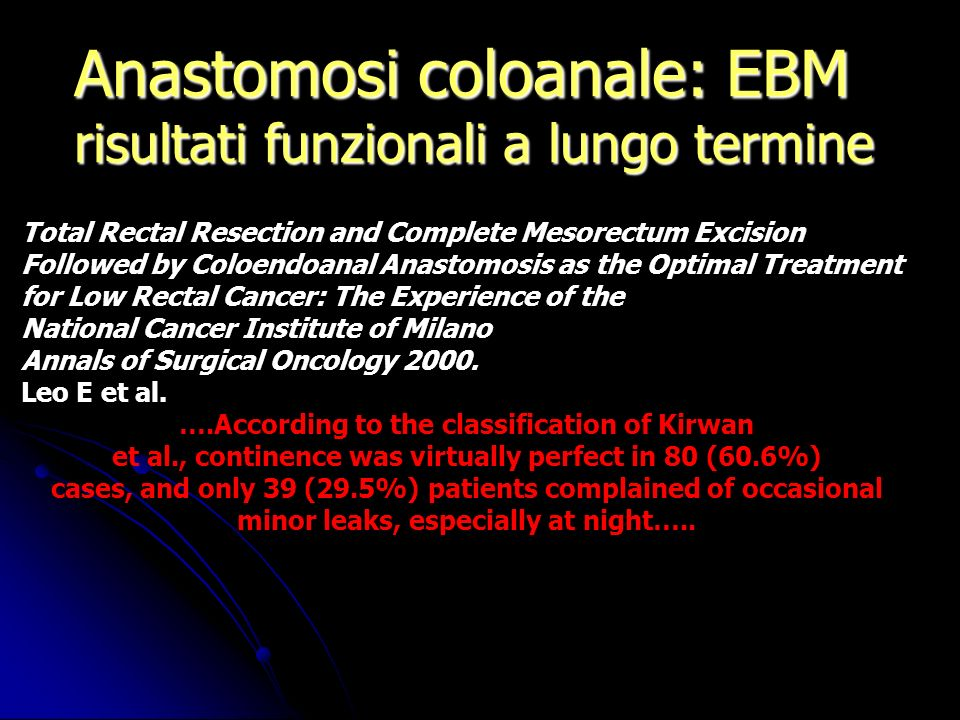 Anastomosi coloanale: EBM