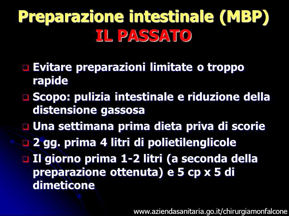 Preparazione intestinale (MBP) IL PASSATO