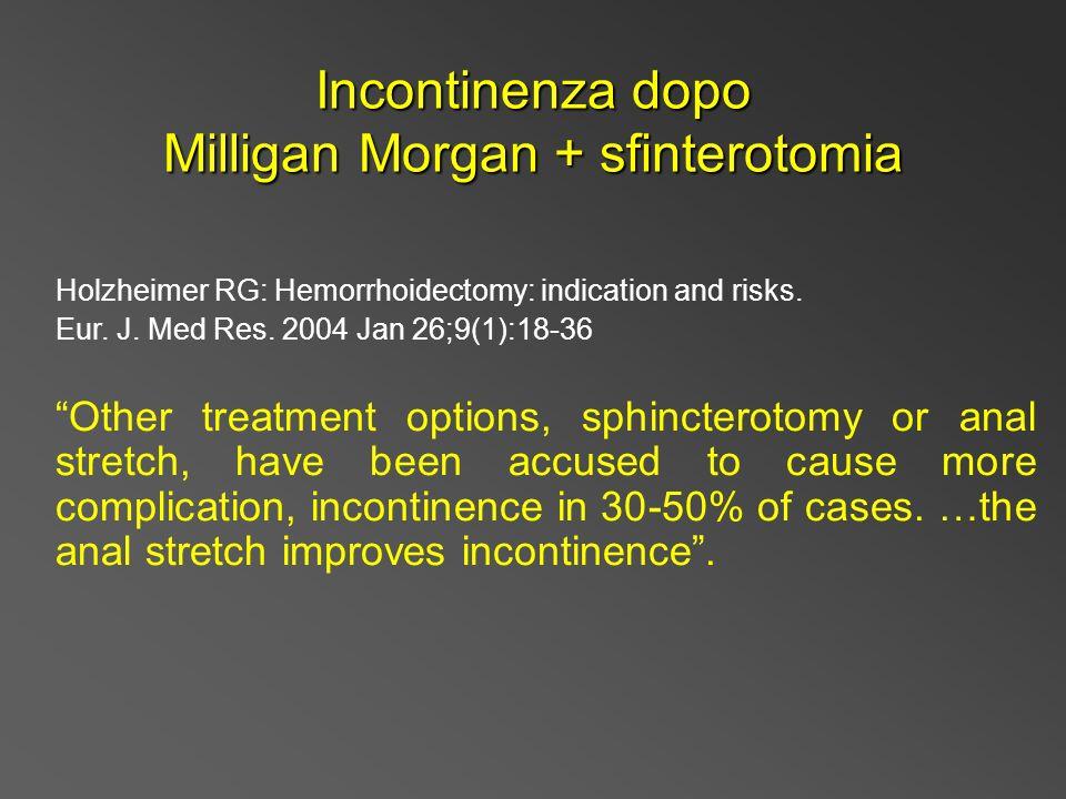 Incontinenza dopo Milligan Morgan + sfinterotomia