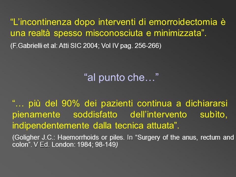 L'incontinenza dopo interventi di emorroidectomia è una realtà spesso misconosciuta e minimizzata .
