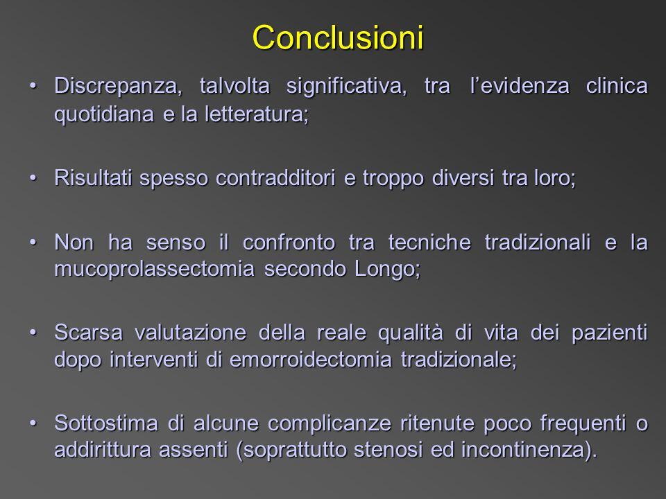 Conclusioni Discrepanza, talvolta significativa, tra l'evidenza clinica quotidiana e la letteratura;