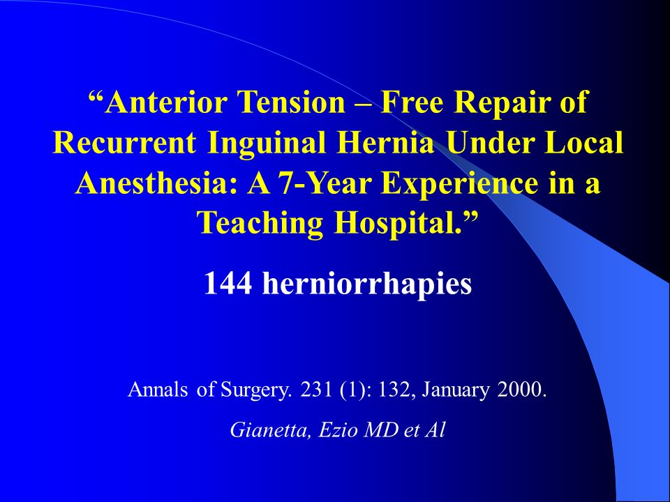 Annals of Surgery. 231 (1): 132, January 2000.