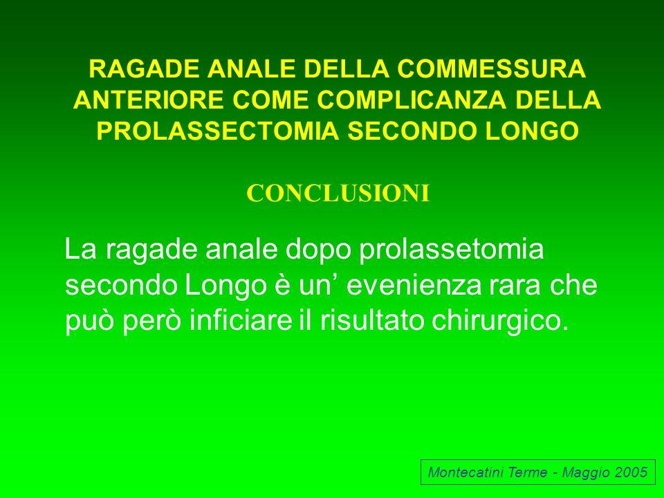 RAGADE ANALE DELLA COMMESSURA ANTERIORE COME COMPLICANZA DELLA PROLASSECTOMIA SECONDO LONGO CONCLUSIONI