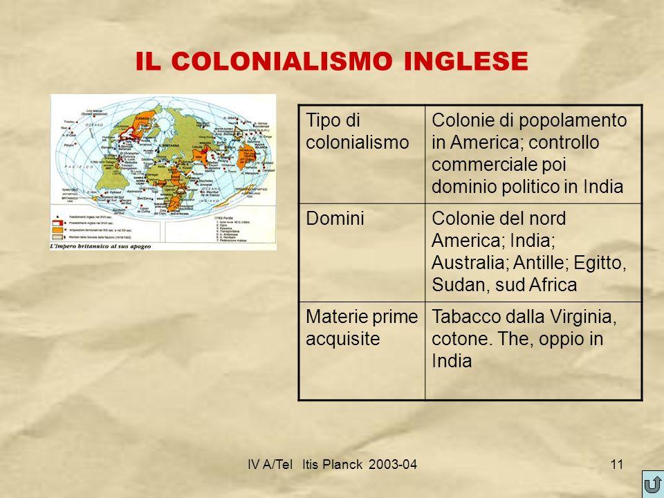 IL COLONIALISMO INGLESE