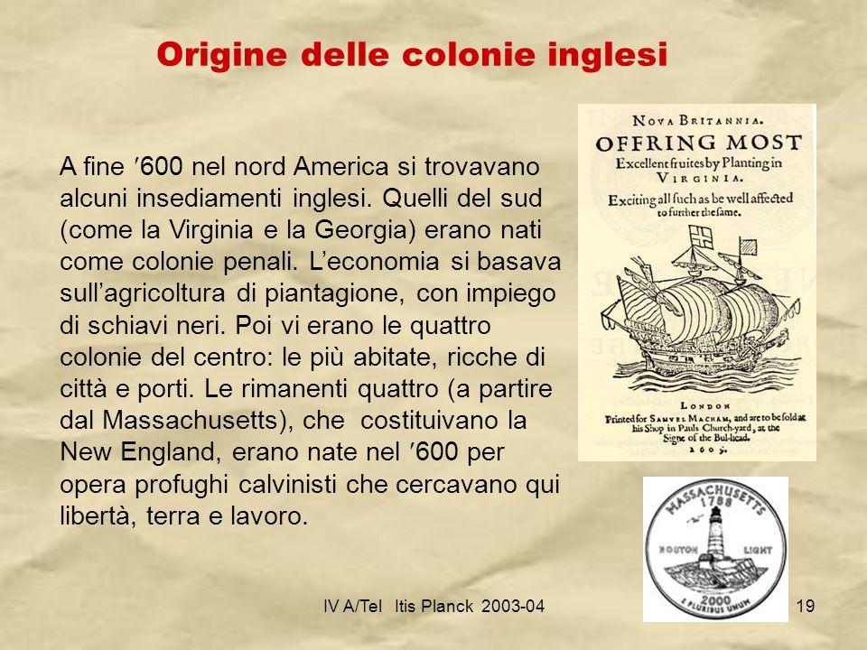Origine delle colonie inglesi