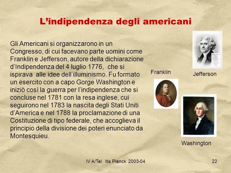 L'indipendenza degli americani