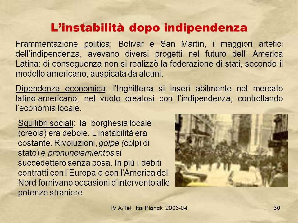 L'instabilità dopo indipendenza