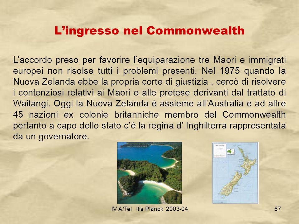 L'ingresso nel Commonwealth