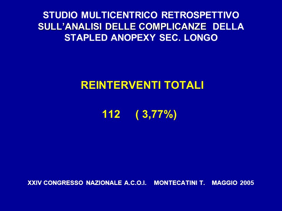 REINTERVENTI TOTALI 112 ( 3,77%)