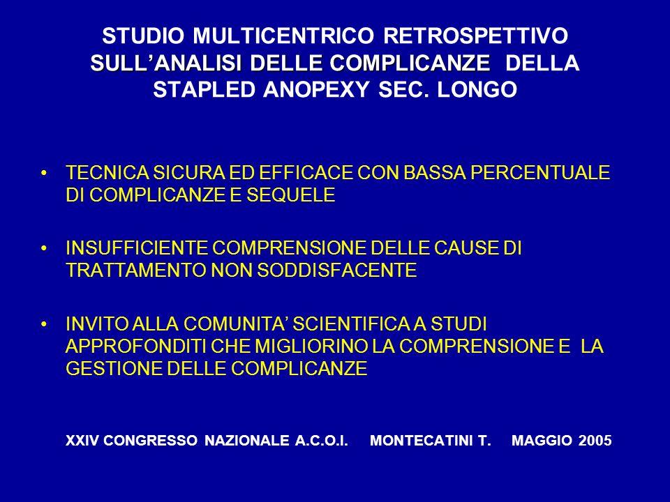 STUDIO MULTICENTRICO RETROSPETTIVO SULL'ANALISI DELLE COMPLICANZE DELLA STAPLED ANOPEXY SEC. LONGO