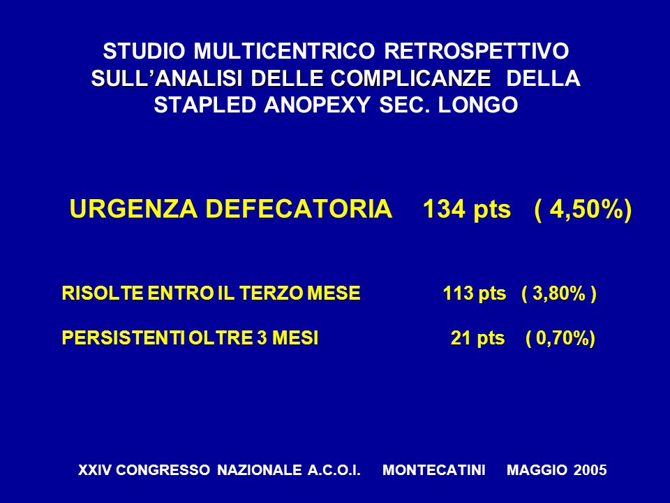 URGENZA DEFECATORIA 134 pts ( 4,50%)