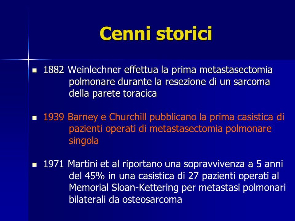 Cenni storici 1882 Weinlechner effettua la prima metastasectomia