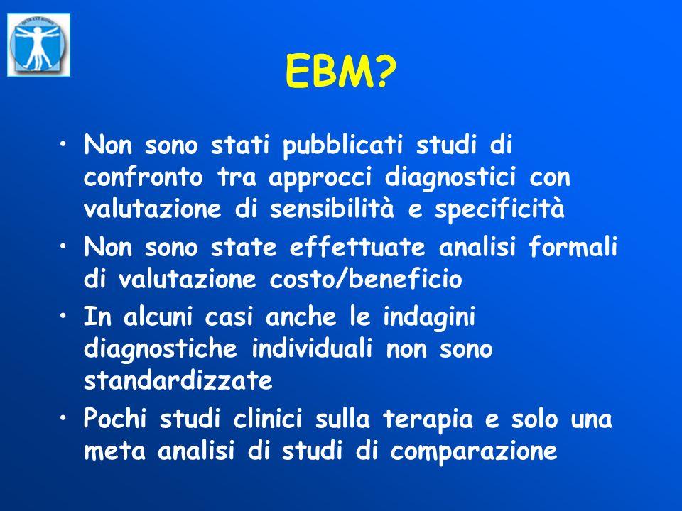 EBM Non sono stati pubblicati studi di confronto tra approcci diagnostici con valutazione di sensibilità e specificità.