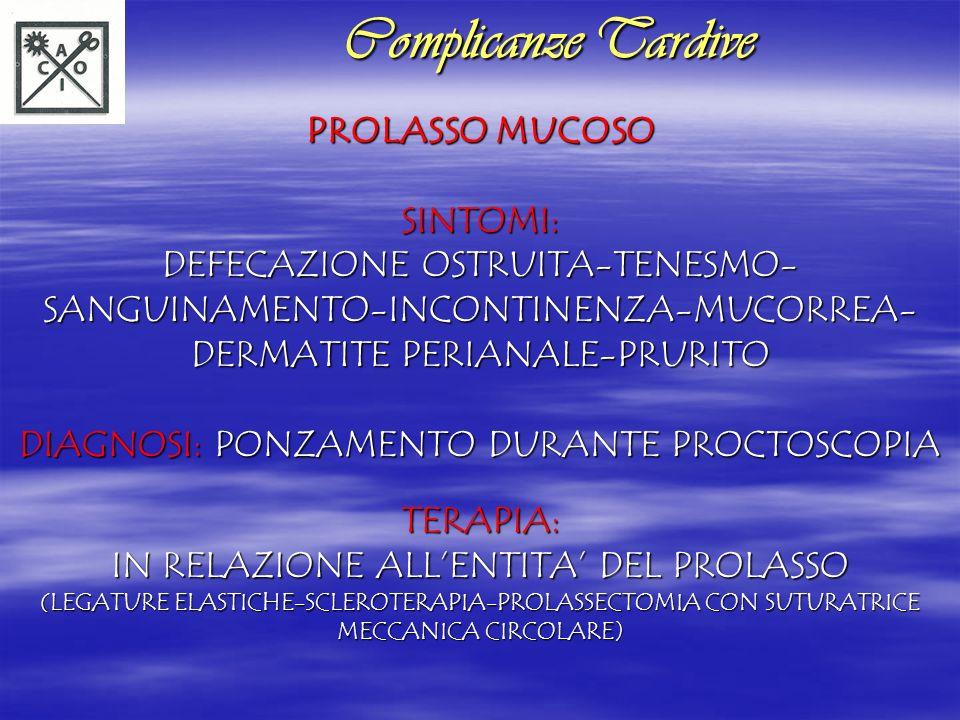 Complicanze Tardive PROLASSO MUCOSO SINTOMI: