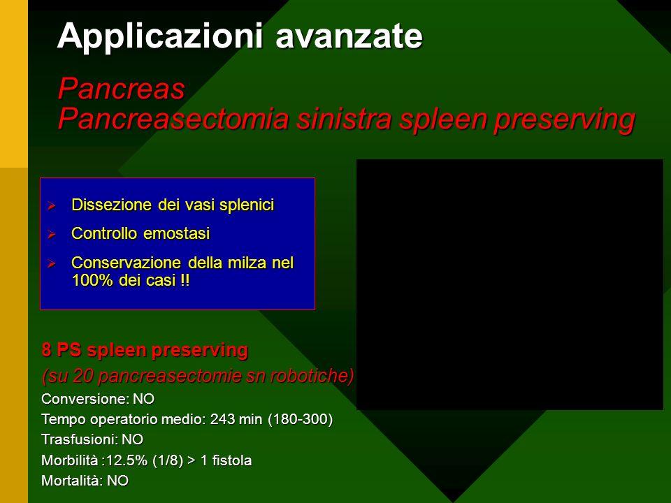Applicazioni avanzate Pancreas Pancreasectomia sinistra spleen preserving