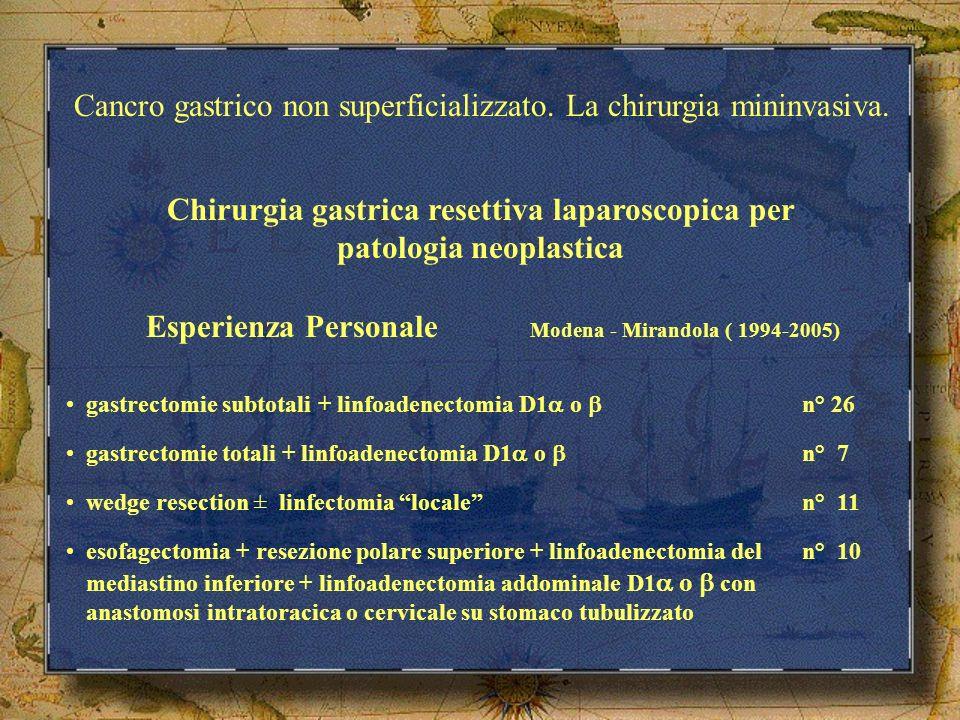 Chirurgia gastrica resettiva laparoscopica per patologia neoplastica