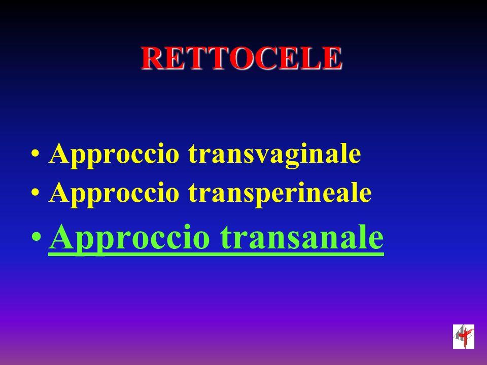Approccio transanale RETTOCELE Approccio transvaginale