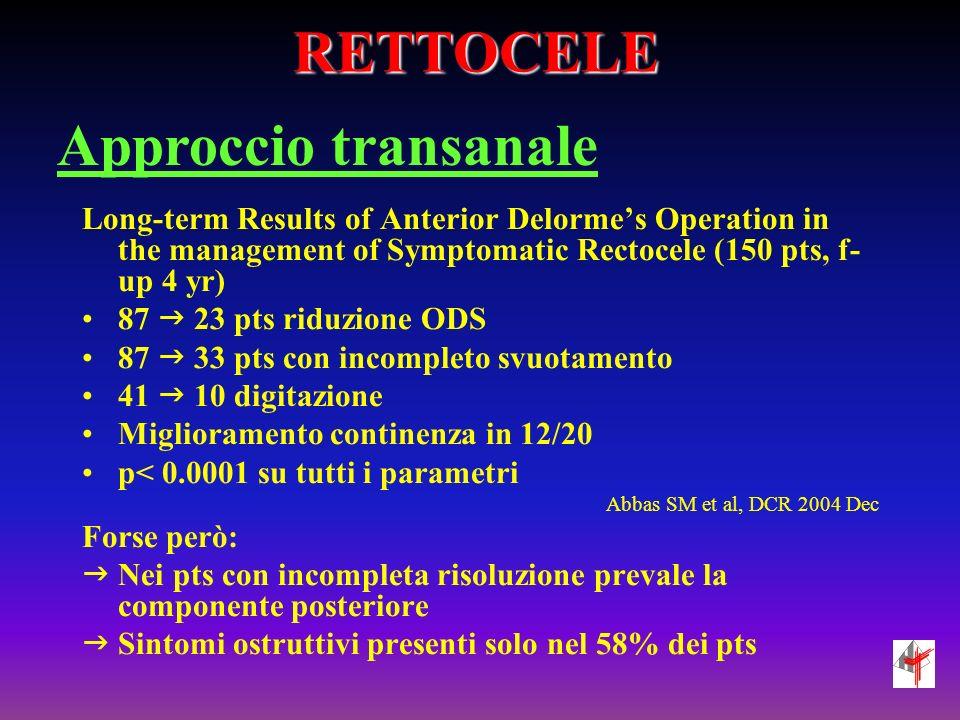 RETTOCELE Approccio transanale
