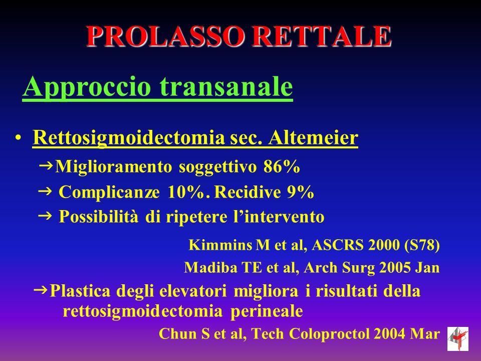 PROLASSO RETTALE Approccio transanale