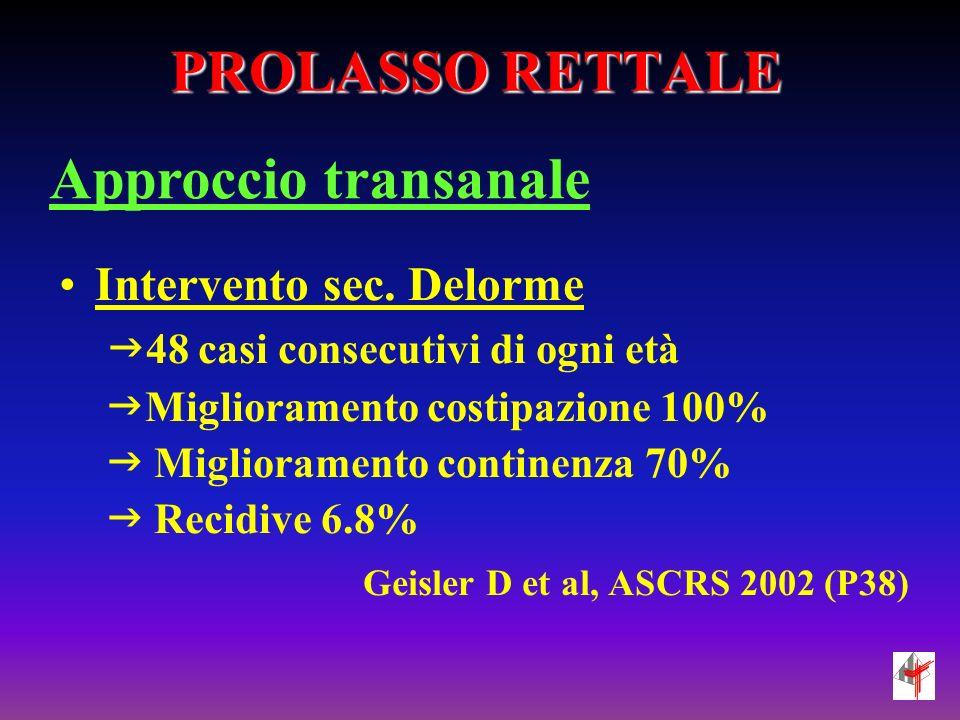 PROLASSO RETTALE Approccio transanale Intervento sec. Delorme