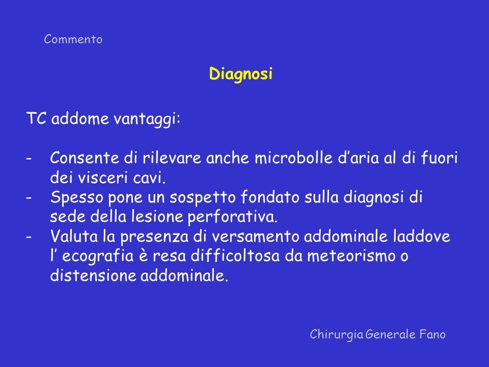 Diagnosi TC addome vantaggi: