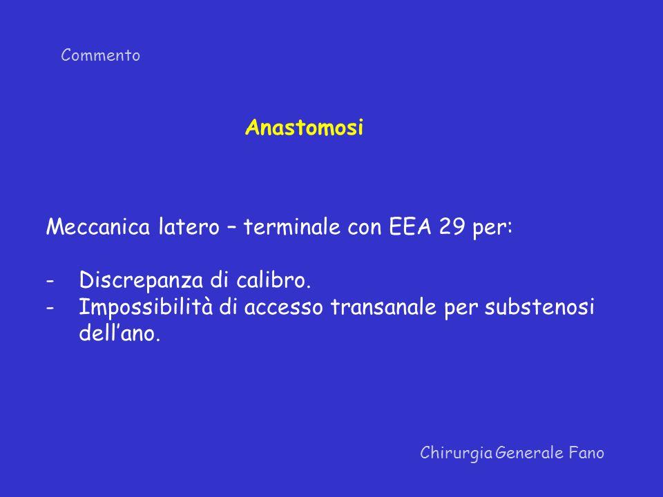 Meccanica latero – terminale con EEA 29 per: Discrepanza di calibro.