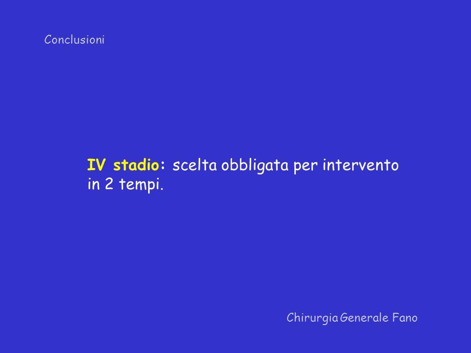 IV stadio: scelta obbligata per intervento in 2 tempi.